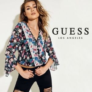 NEW Guess Donna Floral Print Semi Sheer Blouse